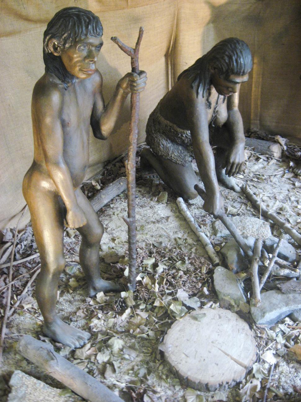 Download Free Stock HD Photo of neandertal man statue Online