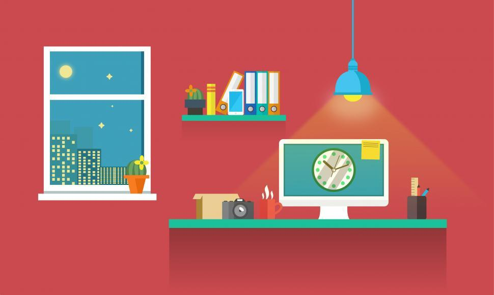 Download Free Stock HD Photo of Work Desk - Working Till Late - Illustration Online