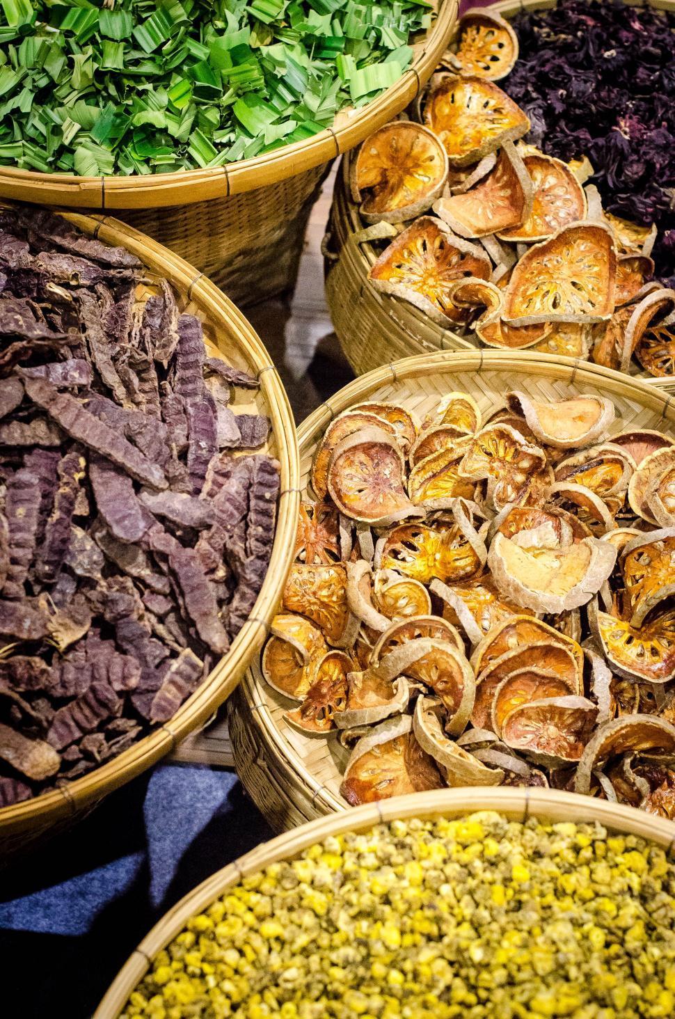 Download Free Stock HD Photo of Thai Herbs in wicker baskets Online
