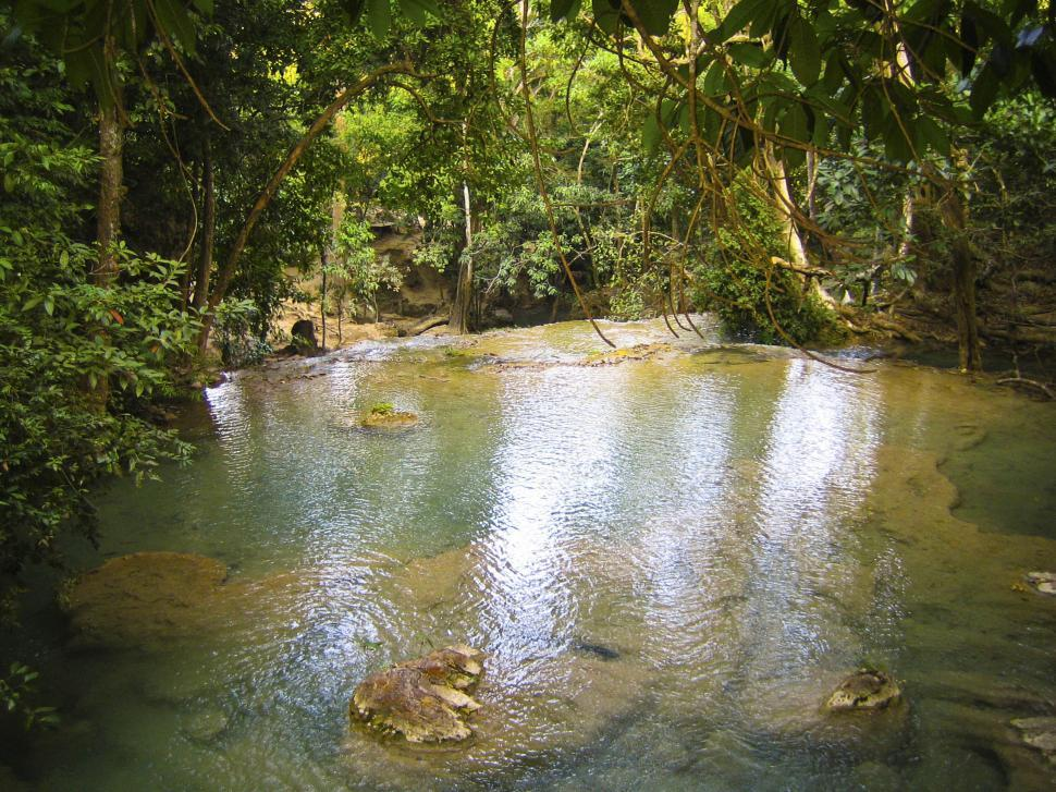 Free image of Pool on rain forrest river in thailand