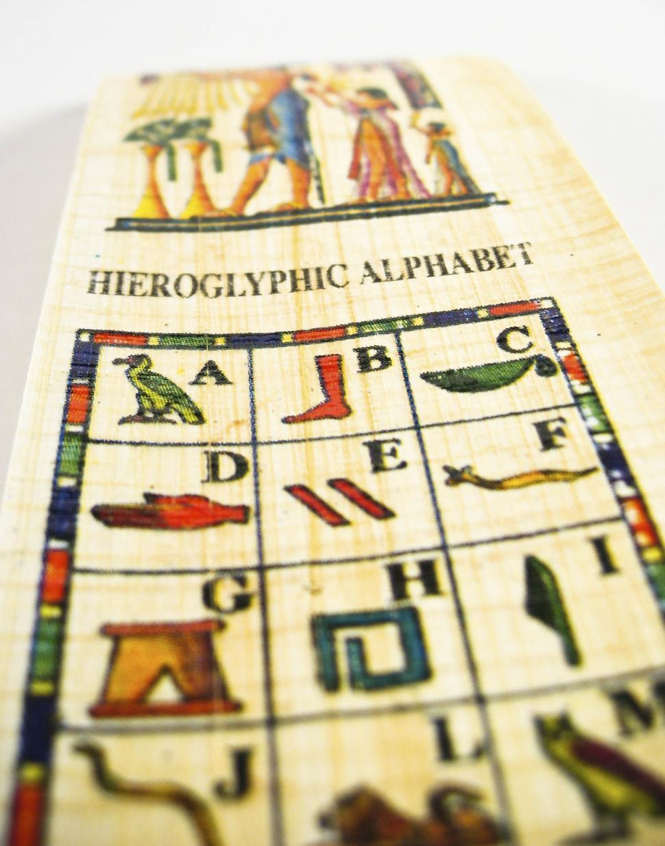 Download Free Stock HD Photo of Hieroglyphic alphabet bookmark Online