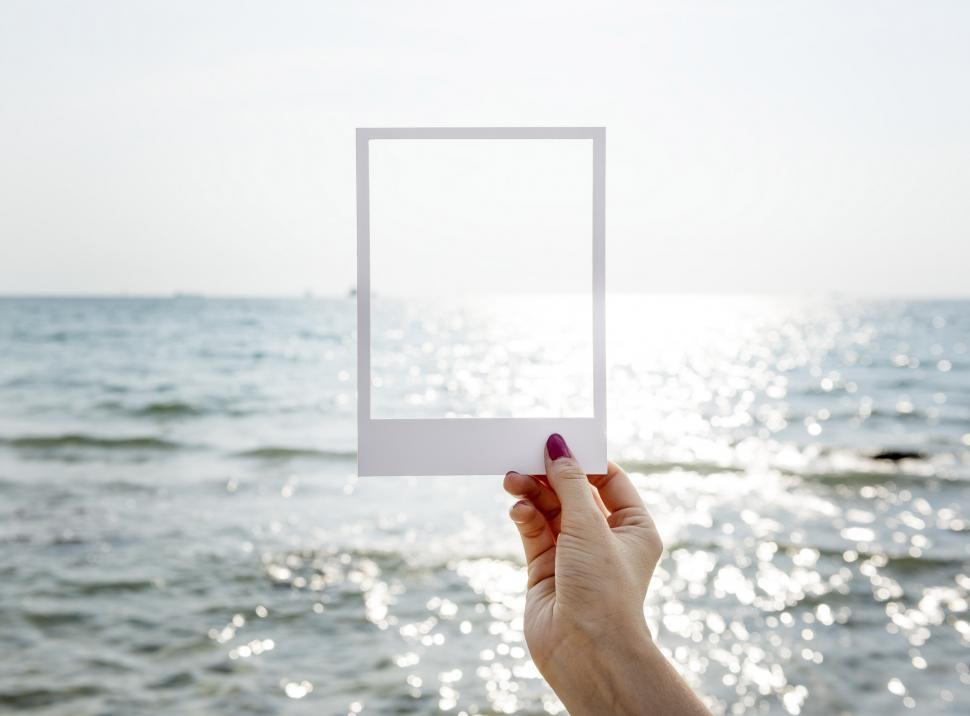 Download Free Stock HD Photo of Calm Ocean framed in Paper Online