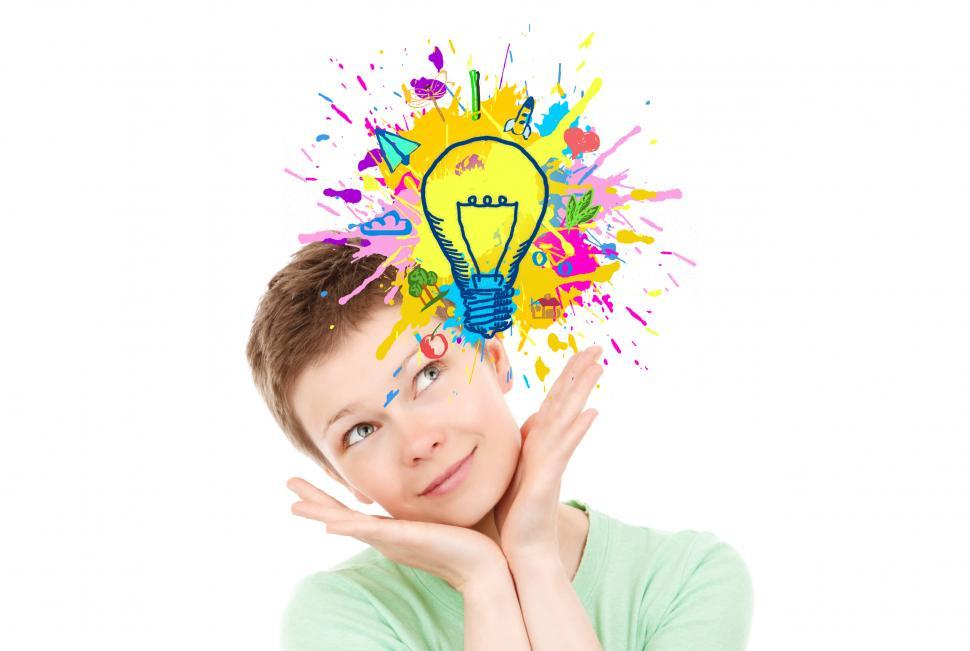Download Free Stock HD Photo of Explosion of Ideas - Woman Generating Ideas Online