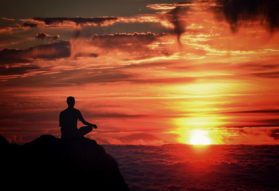 Download Free Stock HD Photo of Meditation - Mindfulness - Person Meditating at Sunset Over the  Online