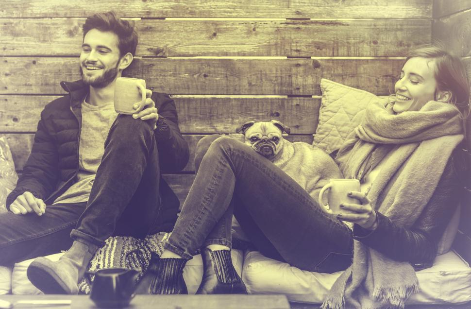 Download Free Stock HD Photo of Young Couple Smiling and Relaxing - Vintage Looks Online