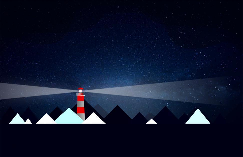 Download Free Stock HD Photo of Lighthouse and Icebergs at Night - Illustration with Copyspace Online