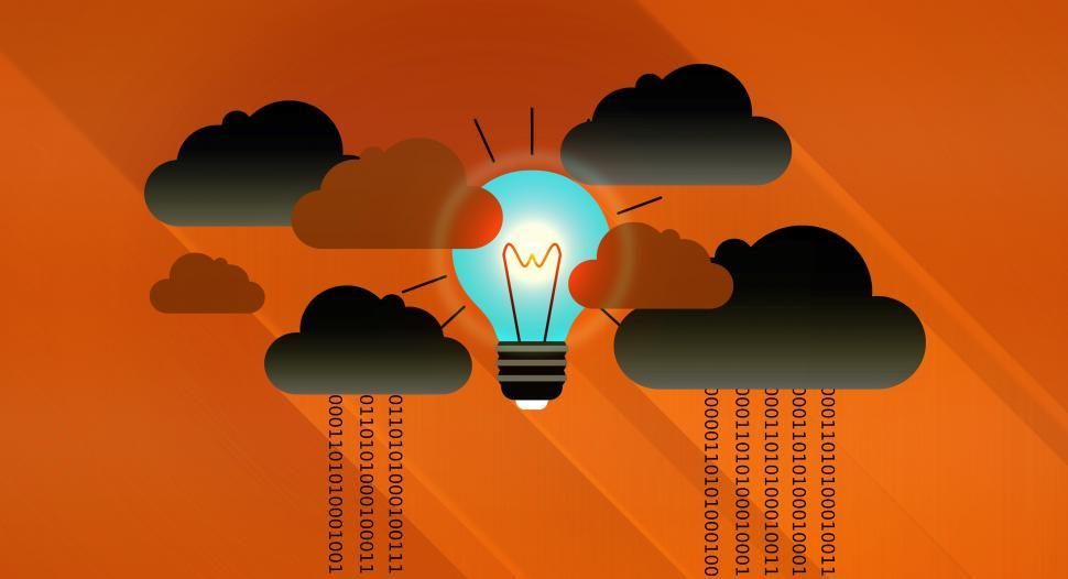 Download Free Stock HD Photo of Dark Clouds - Virtual Clouds and Bright Light Bulb - Cloud Compu Online