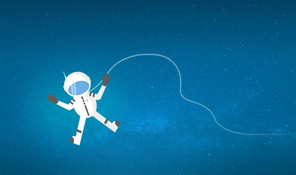 Download Free Stock HD Photo of Cartoon Astronaut Drifting and Lost in Space - With Copyspace Online