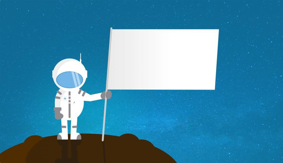 Download Free Stock HD Photo of Cartoon Astronaut Holding Blank Flag - With Copyspace Online