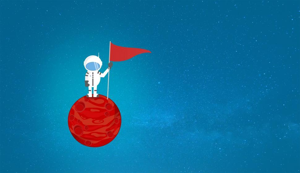 Download Free Stock HD Photo of Cartoon Astronaut on a Planet Holding a Flag - With Copyspace Online