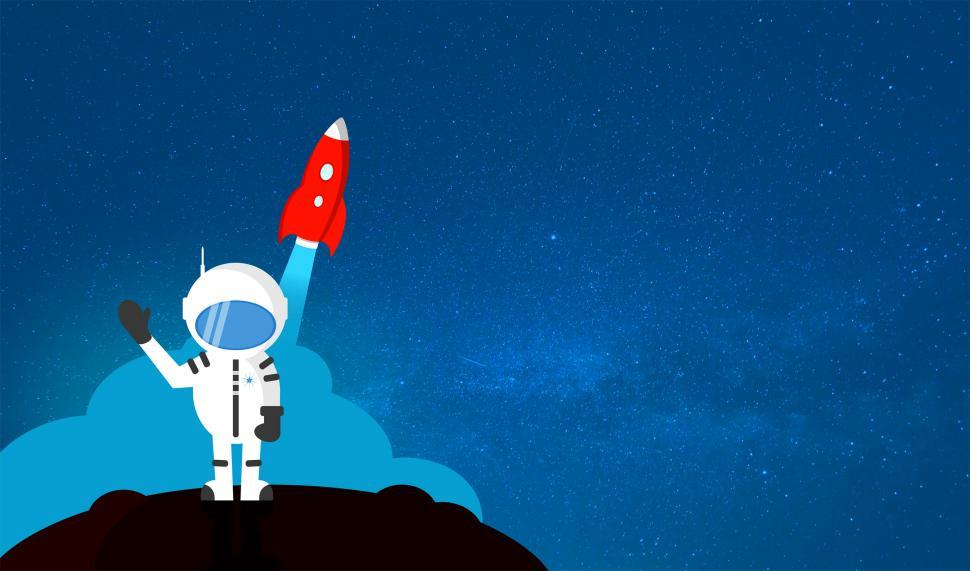 Download Free Stock HD Photo of Cartoon Astronaut Waving Goodbye - With Copyspace Online