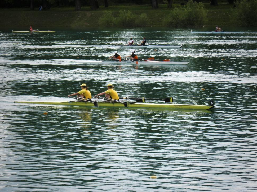 Download Free Stock HD Photo of rowing race underway Online