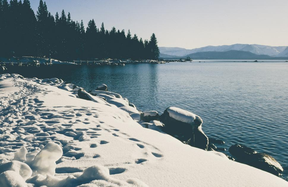 Download Free Stock HD Photo of Snow covered seashore Online