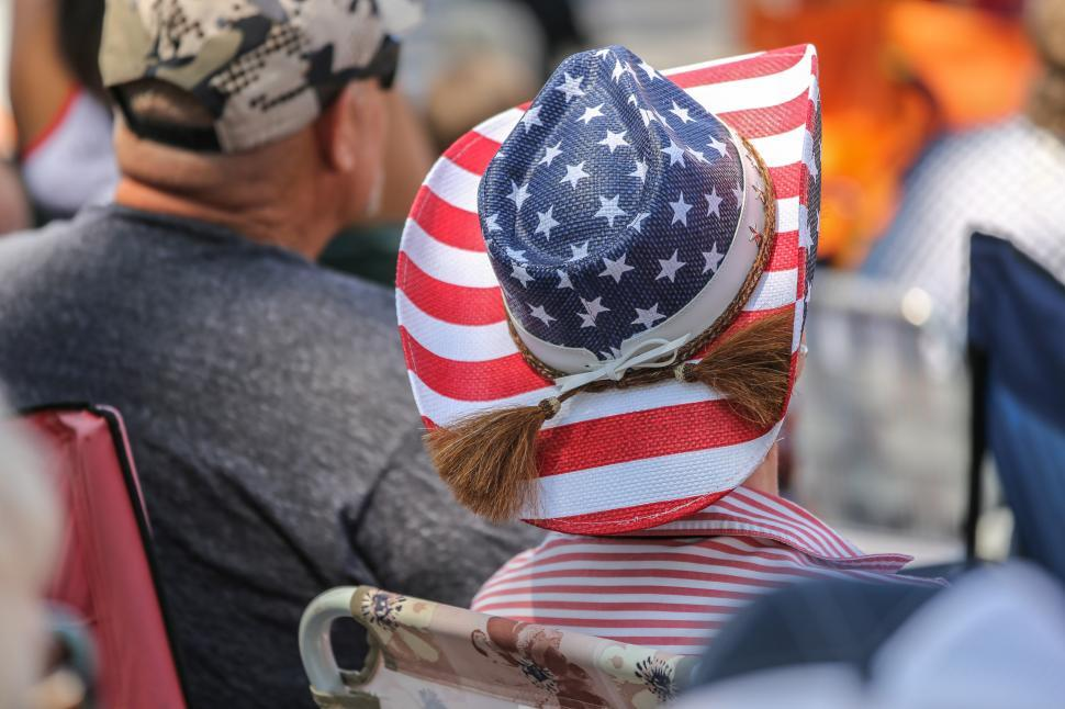 Download Free Stock HD Photo of Straw Ameican Flag hat Online