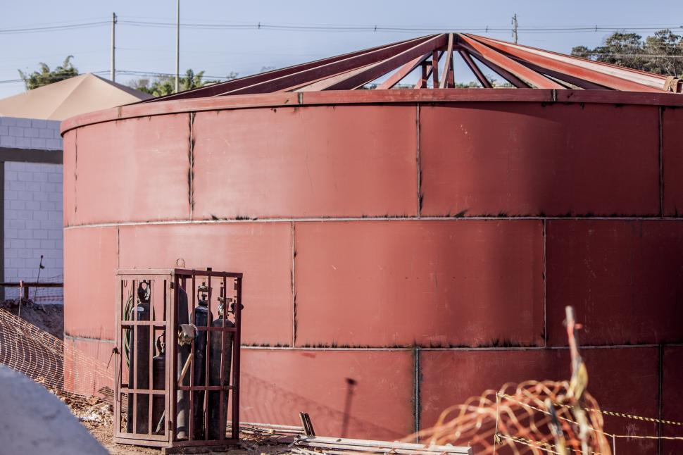 Download Free Stock HD Photo of Red Water Silo Welded Online