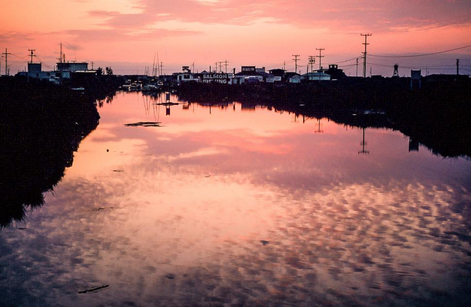 Download Free Stock HD Photo of Sunset Clouds Reflection On Water with Salmon Fishing Village Online