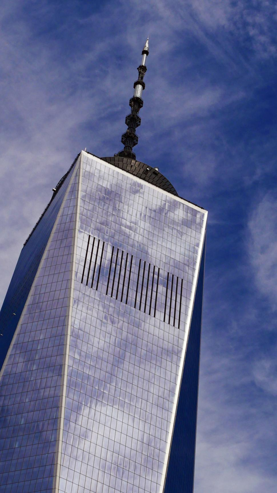 Download Free Stock HD Photo of One World Trade Center detail and clouds Online