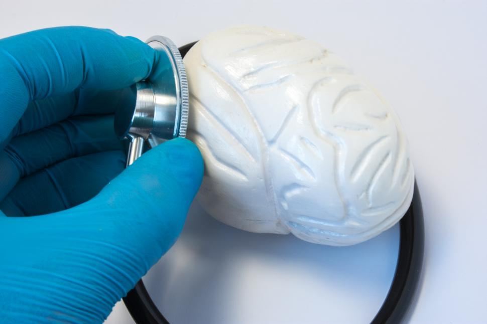 Download Free Stock HD Photo of The doctor examines the human brain with a stethoscope Online