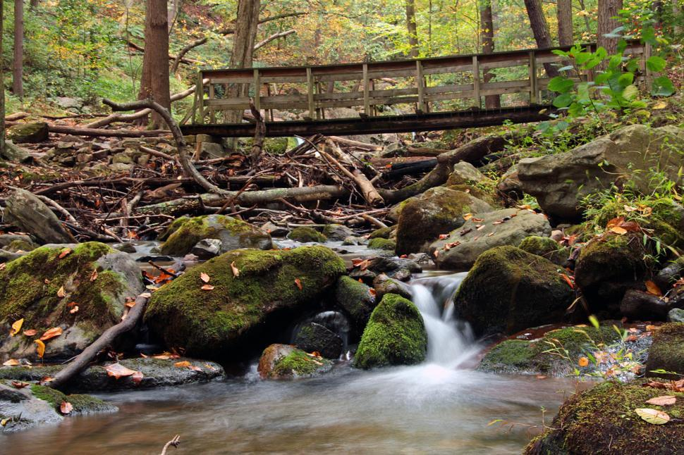 Download Free Stock HD Photo of Wooden Bridge and Small Cascade Waterfall Online
