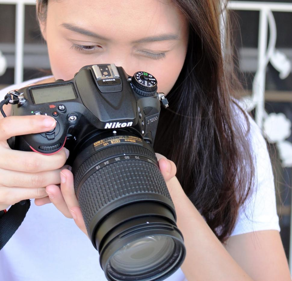 Download Free Stock HD Photo of Asian girl takes photo with Nikon camera  Online