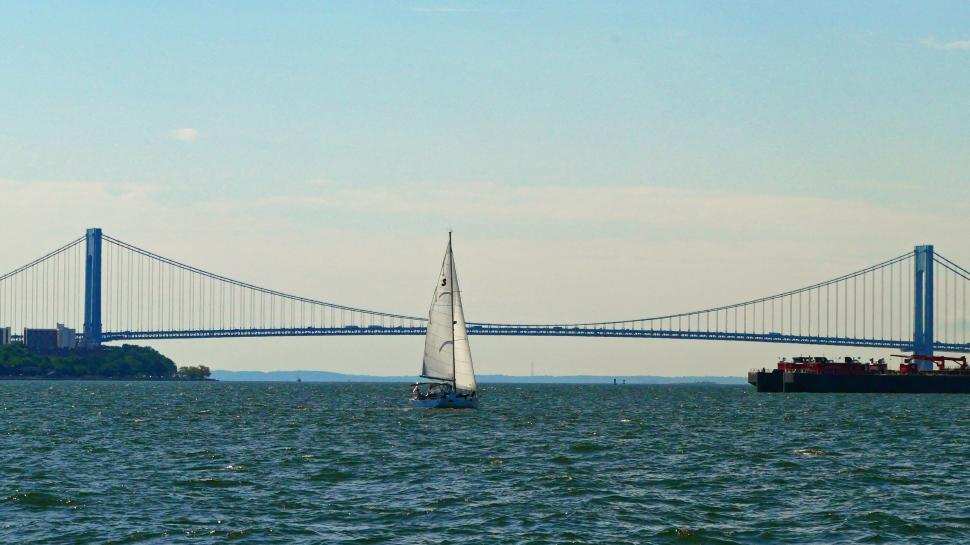 Download Free Stock HD Photo of Sailboat and Bridge Online
