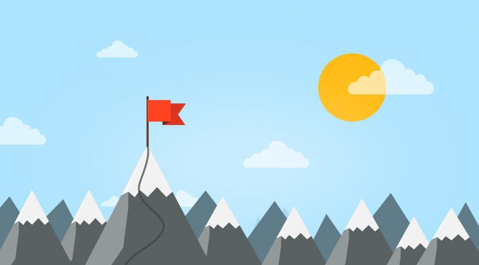 Download Free Stock HD Photo of Summit - Reaching A New Career Height - Mountain with Flag Online