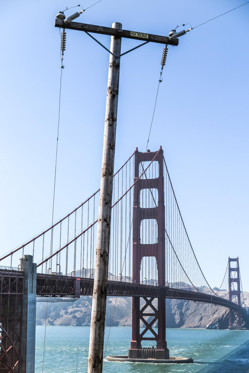 Download Free Stock HD Photo of Golden Gate bridge obscured by Telephone Pole Online