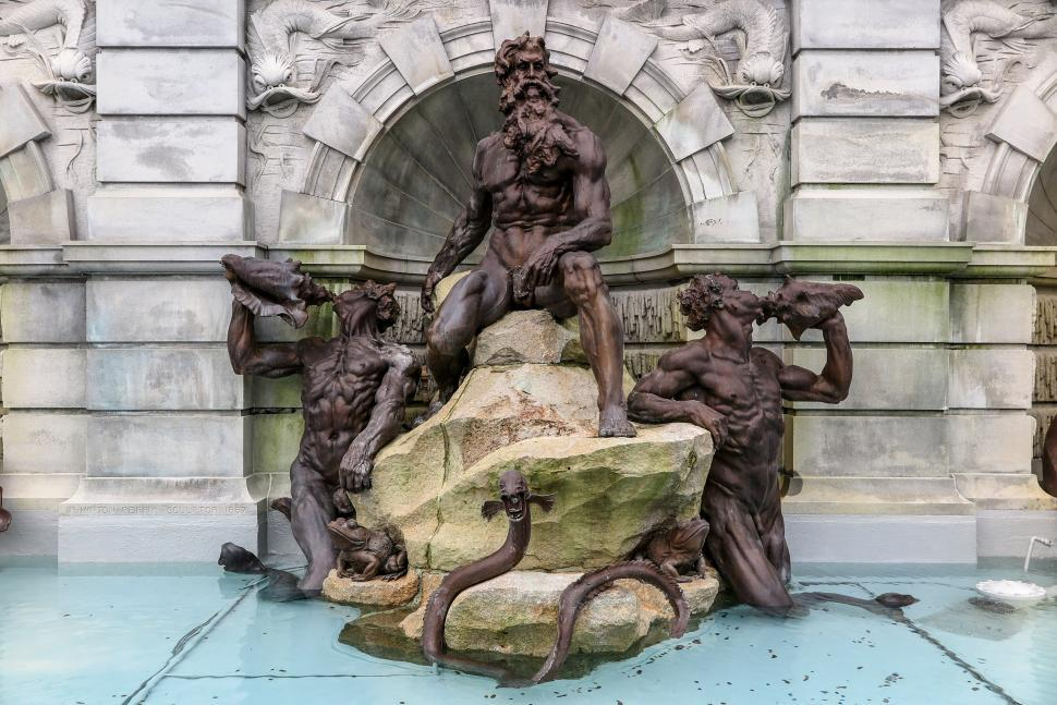 Download Free Stock HD Photo of The Court of Neptune Fountain at Library of Congress Online