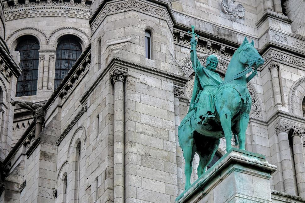 Download Free Stock HD Photo of Horseman Bronze at the Sacre Coeur Online