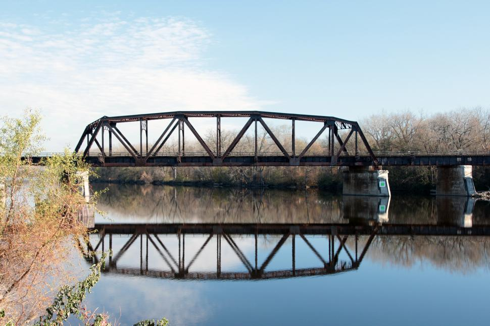 Download Free Stock HD Photo of Railway Bridge Silhouette and Reflection Online