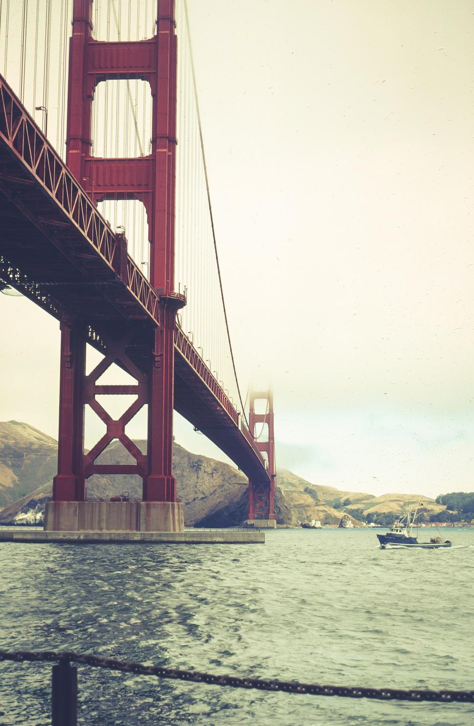 Free image of Low Angle view of Golden Gate Bridge, San Francisco, California, USA