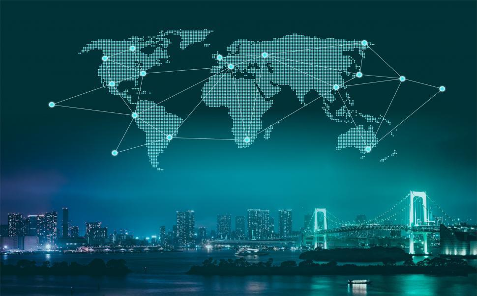 Trade And Commerce   World Map Over City At Night