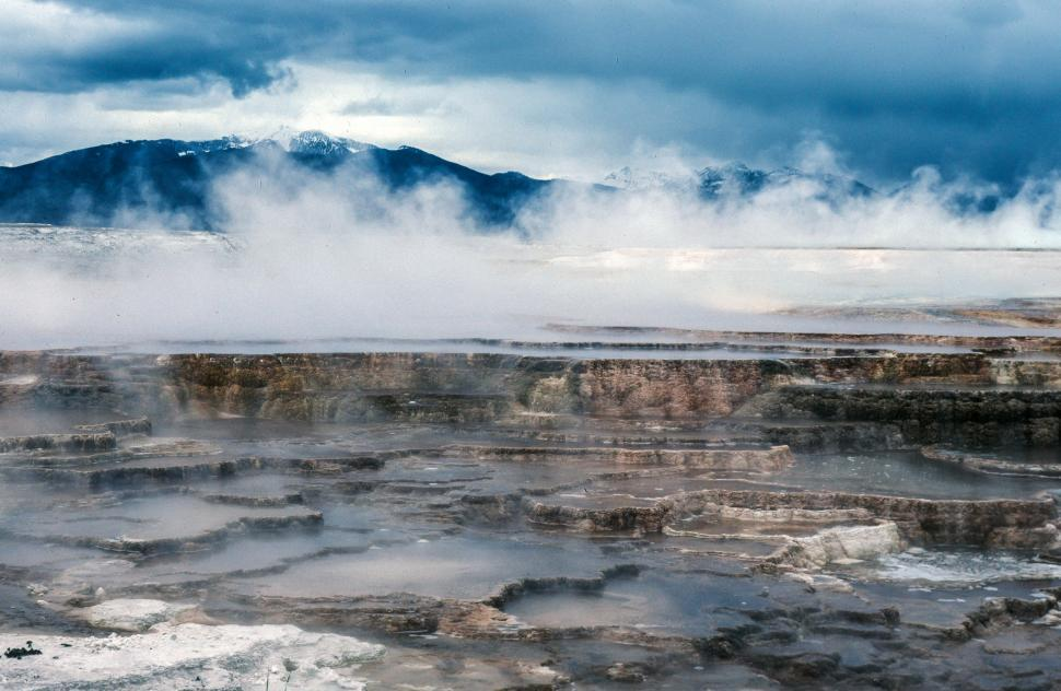 Free image of View of Mammoth Hot Springs at Yellowstone National Park, Wyoming