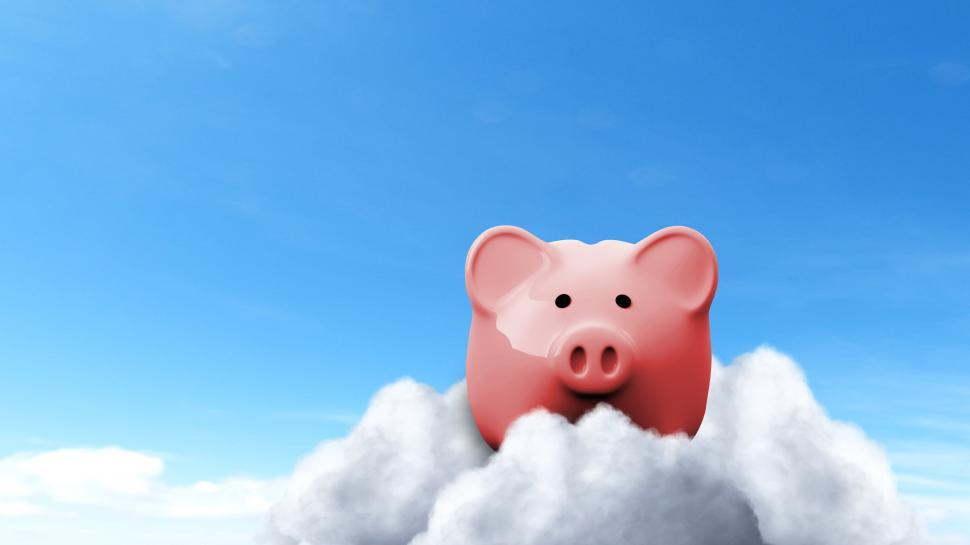 Download Free Stock HD Photo of Piggy Bank on Clouds - Savings Concept Online