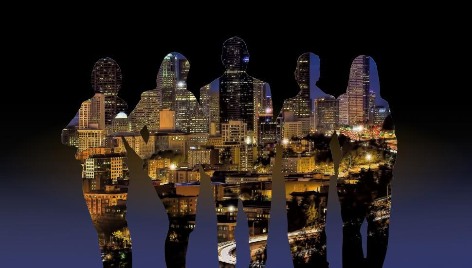 Download Free Stock HD Photo of Silhouettes of People Over Cityscape Online