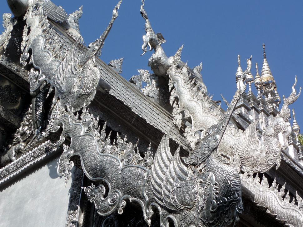 Download Free Stock HD Photo of Silvered Ordination Hall of Suphan Buddhist Temple Online