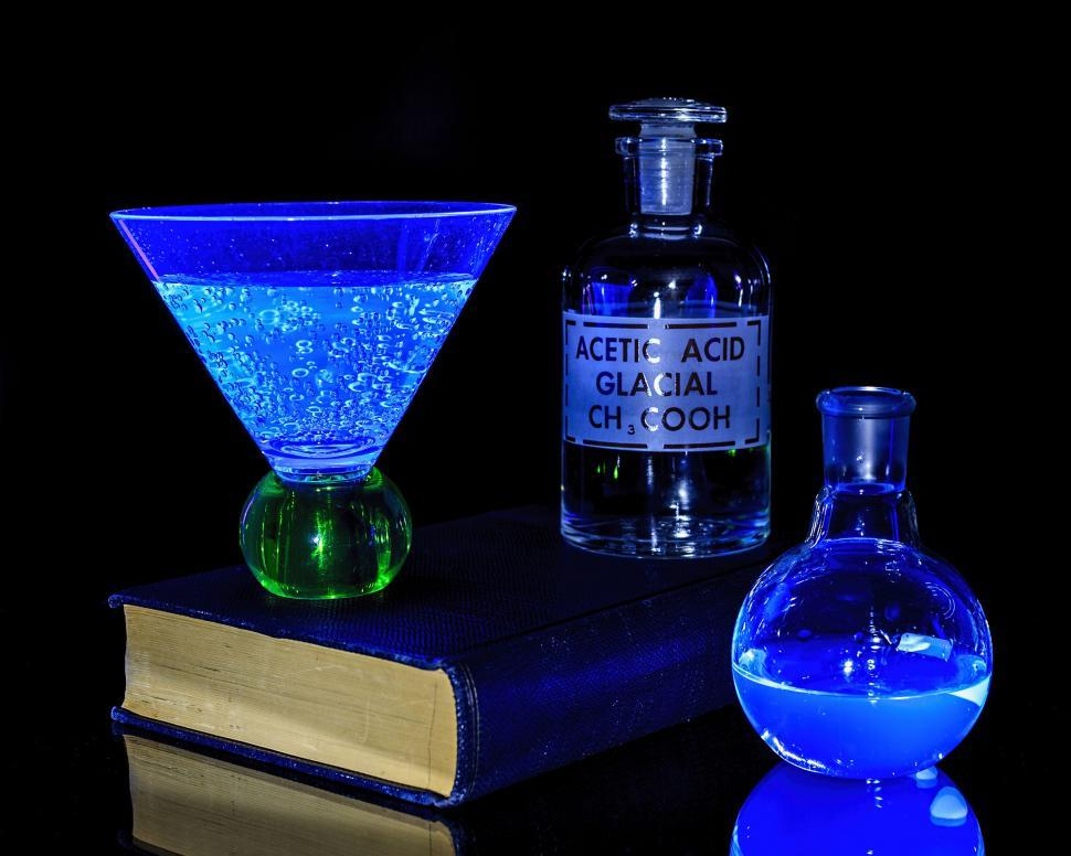 Download Free Stock HD Photo of Chemicals under a black light Online