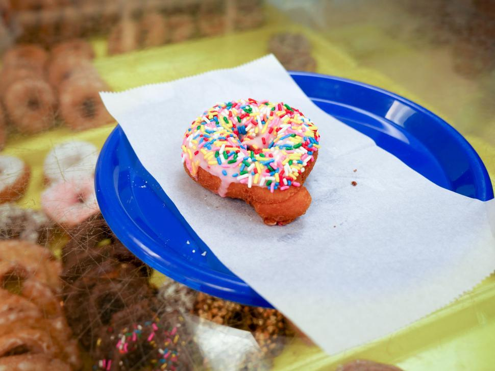 Download Free Stock HD Photo of Cake donut with stawberry icing Online
