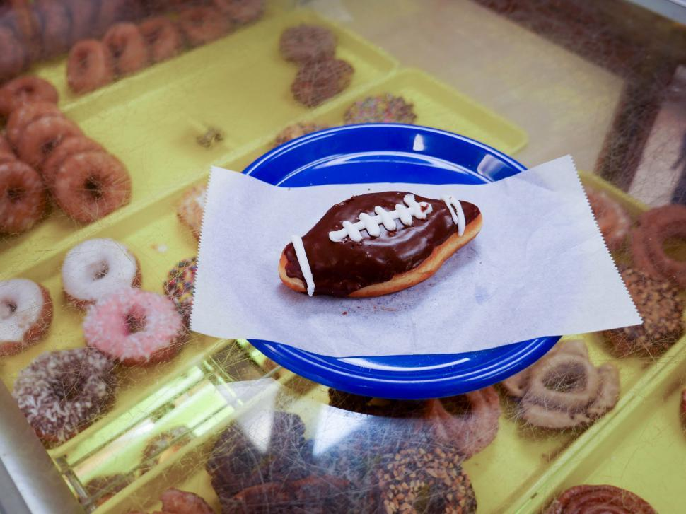 Download Free Stock HD Photo of Football shaped donut Online