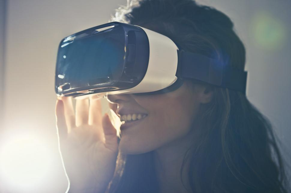 Download Free Stock HD Photo of Woman With Virtual Reality Goggles Online