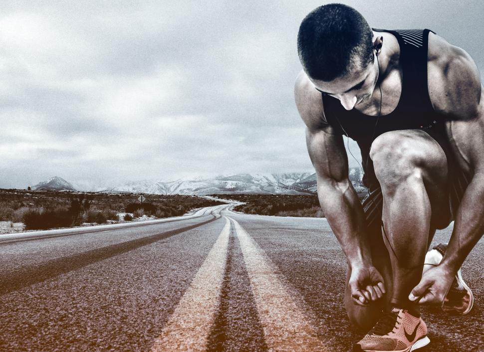 Download Free Stock HD Photo of Hit the Road - A Man Prepares to Run - Running Online