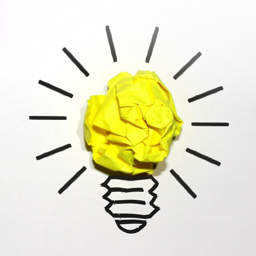 Download Free Stock HD Photo of Idea Concept with Yellow Crumpled Paper Online