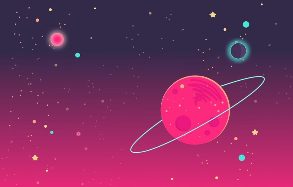 Download Free Stock HD Photo of Deep Colorful Outer Space - Cartoon Illustration Online