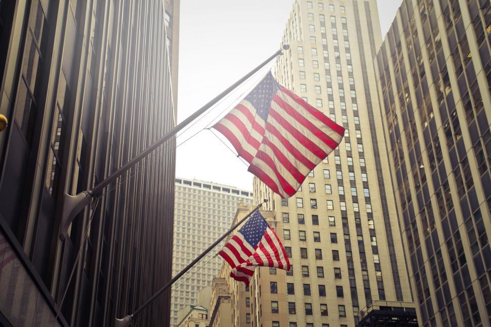 Download Free Stock HD Photo of Two Flags of USA Under White Clouds at Daytime Online