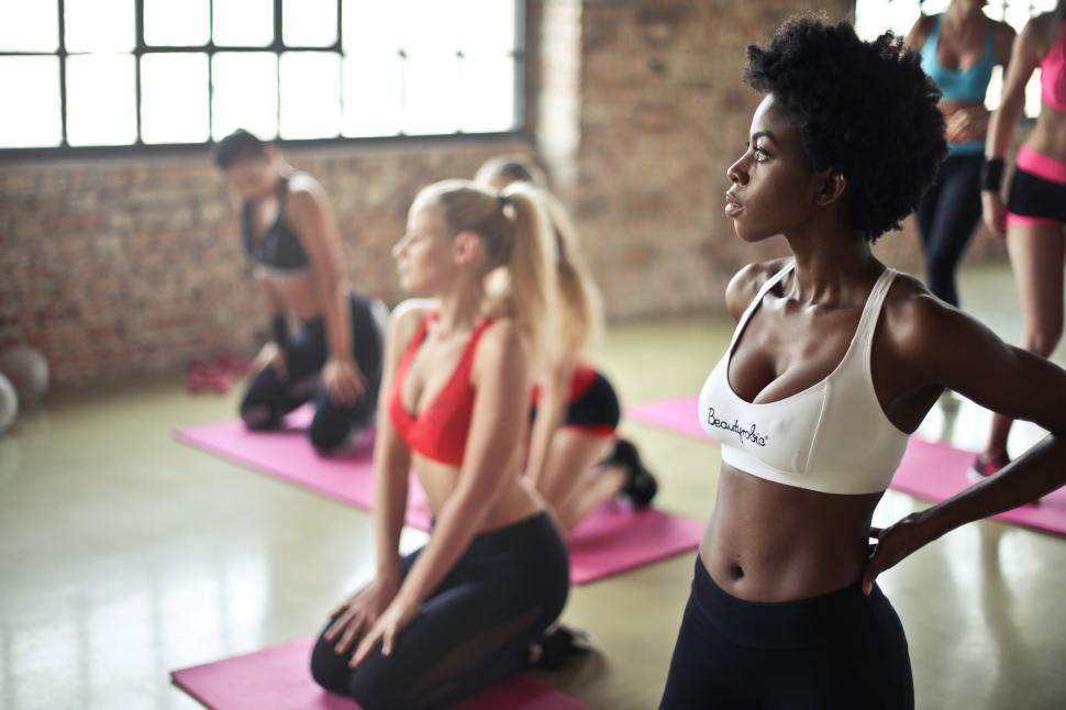 Download Free Stock HD Photo of Women of Multiracial group during aerobics class Online