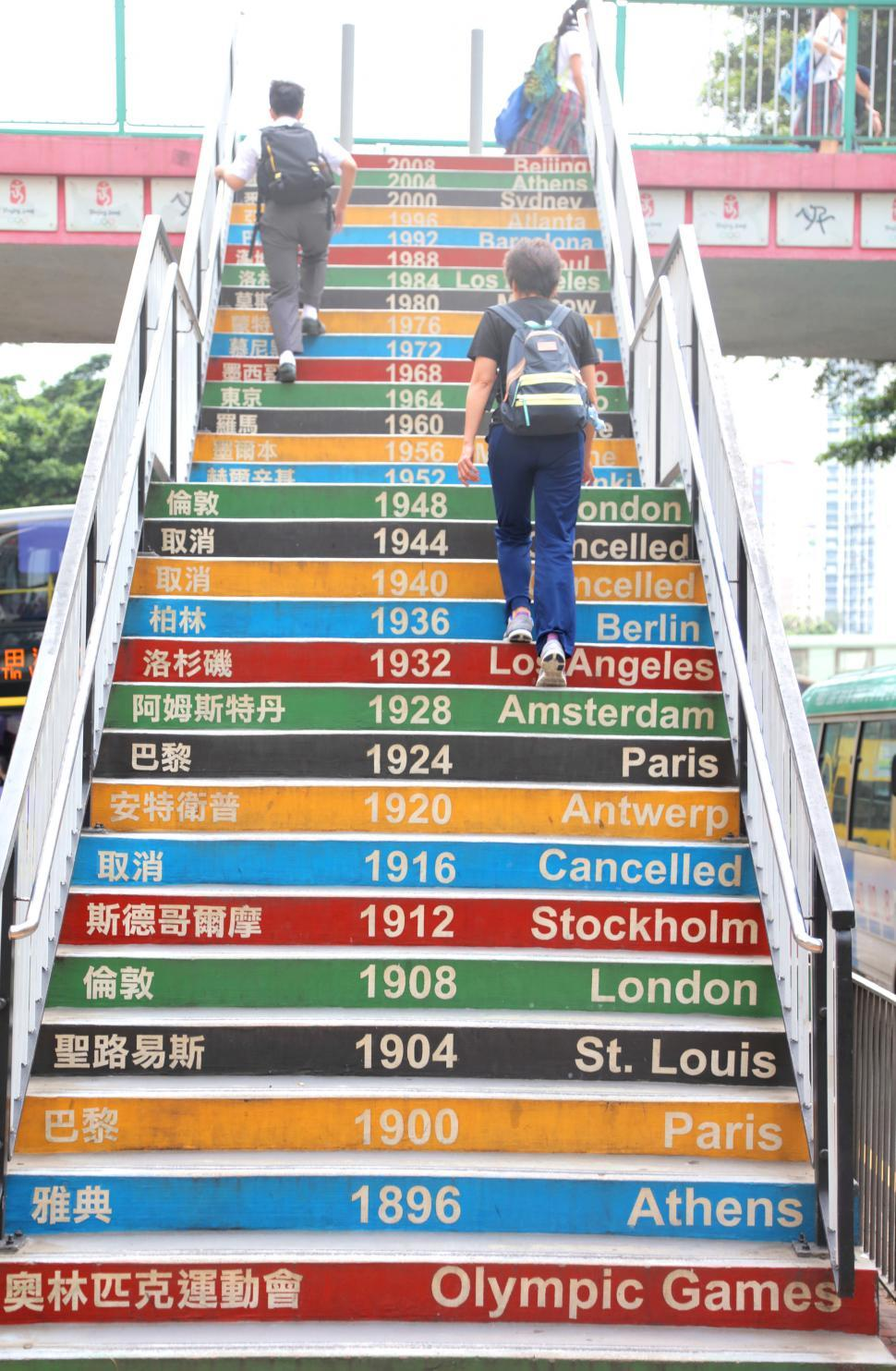 Download Free Stock HD Photo of School Stairs decorated with past Olympic dates in Hong Kong Online