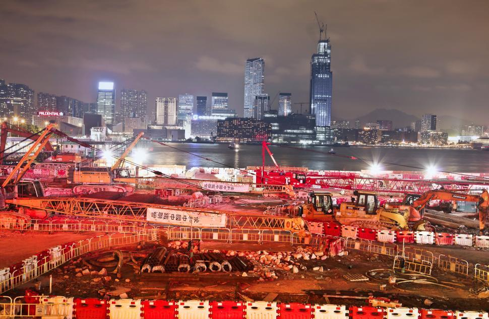Download Free Stock HD Photo of Night View Of Under Construction Building Site Online