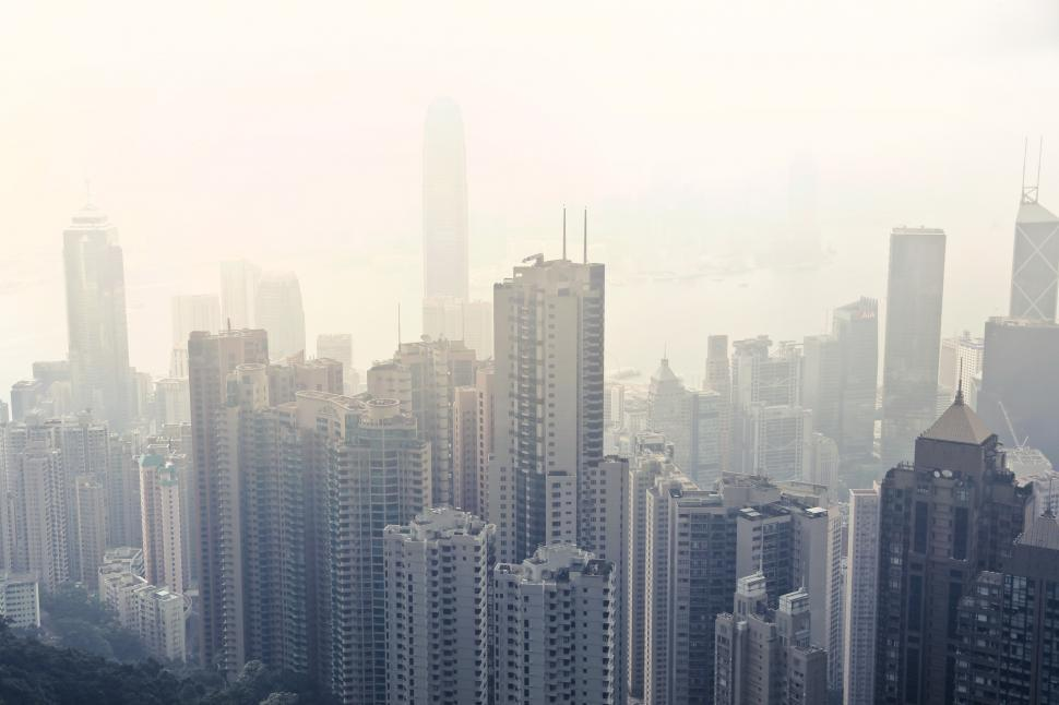 Download Free Stock HD Photo of Foggy View Of skyscrapers in Hong Kong Online