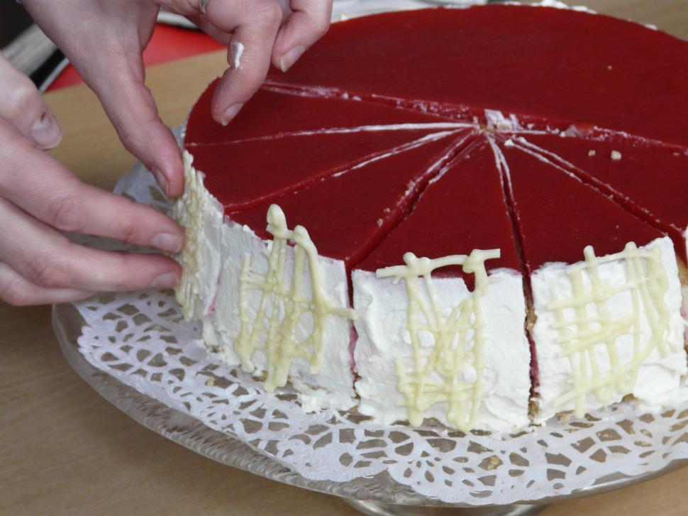 Download Free Stock HD Photo of Decorating a strawberry-cake Online