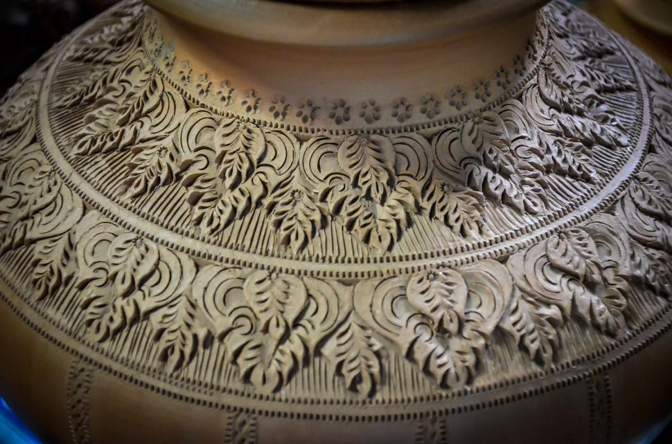 Download Free Stock HD Photo of Thai Pottery Style - Carved Pot Online